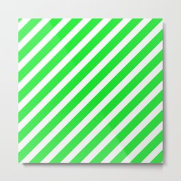 Basic Stripes Green Metal Print