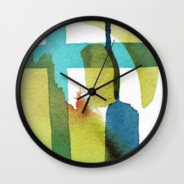 Blue and Green and Yellow Abstract Panting Wall Clock