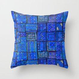 V2 Calm Blue Traditional Moroccan Cloth Texture. Throw Pillow