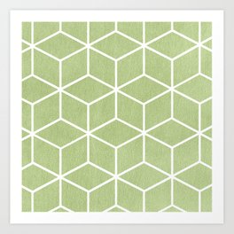 Lime Green and White - Geometric Textured Cube Design Art Print