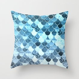 REALLY MERMAID SILVER BLUE Throw Pillow