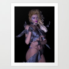 Leather Wrap girl  Art Print