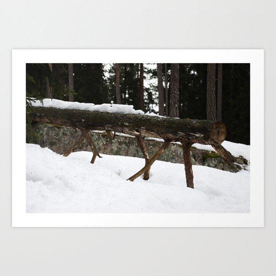 Winter log Art Print