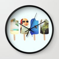 popsicle Wall Clocks featuring Popsicle by Jemma Pope