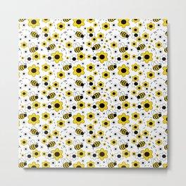 Honey Bumble Bee Yellow Floral Pattern Metal Print