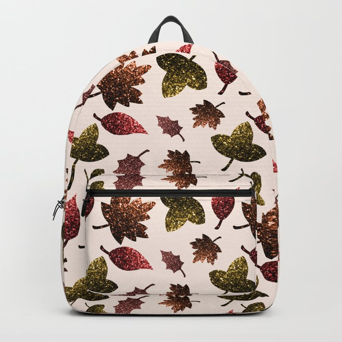 Sparkly leaves fall autumn sparkles pattern backpack by PLdesign