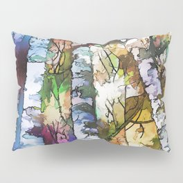 White Aspen and  Birch Trees Contemporary Art Pillow Sham