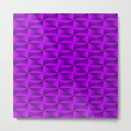 A vibrant grid of shaded rhombuses with intersecting violet diagonal lines and triangles. Metal Print