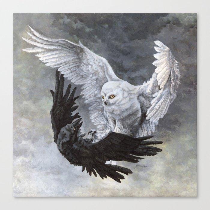 Yin Yang Owl and Raven Canvas Print
