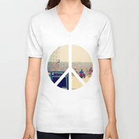 woodstock V-neck T-shirts featuring Woodstock 69 by Silvio Ledbetter
