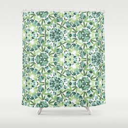 Green petal kaleidoscope  Shower Curtain