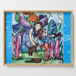 Garden Of The Blue Cat Fairy Serving Tray