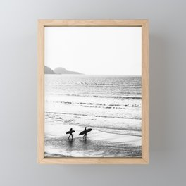 Surfers, Black and White, Beach Photography Framed Mini Art Print