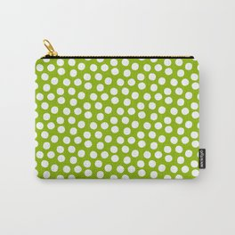 White Polka Dots on Fresh Spring Green - Mix & Match with Simplicty of life Carry-All Pouch