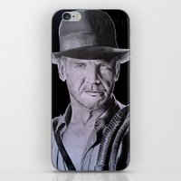 indiana jones iPhone & iPod Skins featuring Harrison Ford (Indiana Jones) by Andulino