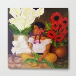 Girl with Calla Lilies and Red Mexican Sunflowers by Diego Rivera Metal Print