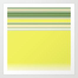 Bright Yellow Green Stripes Art Print