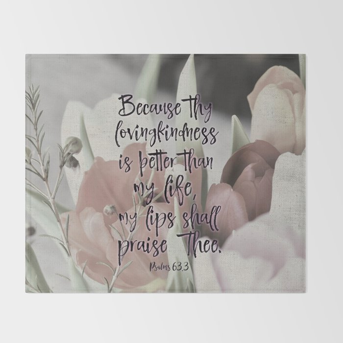 Psalms Bible Verse Lovingkindness Throw Blanket