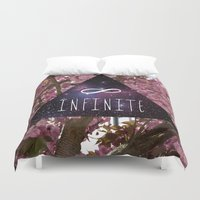 infinite Duvet Covers featuring Infinite by Maria Lugilde