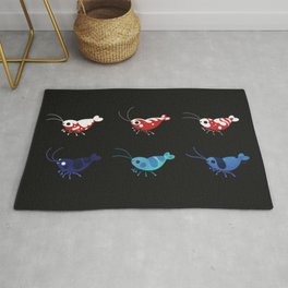 Red and blue shrimp Rug