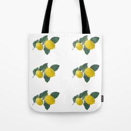 Oil painted lemons in rows Tote Bag