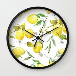 Watercolor lemons 8 Wall Clock