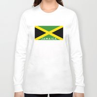 jamaica Long Sleeve T-shirts featuring Jamaica country flag name text by tony tudor