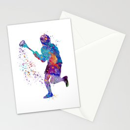 Lacrosse Boy Colorful Watercolor Art Sports Gift Stationery Cards