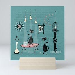 Mid Century Kitty Mischief - ©studioxtine Mini Art Print
