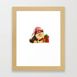 Christmas theme with cute dog and present Framed Art Print