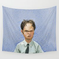 dwight Wall Tapestries featuring Dwight by Richtoon