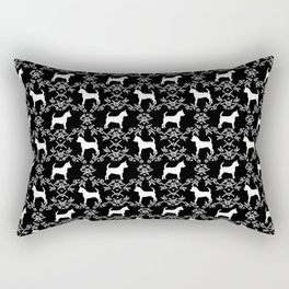Chihuahua silhouette black and white florals flower pattern art pattern dog breed Rectangular Pillow