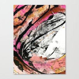 Motivation: a colorful, vibrant abstract piece in pink red, gold, black and white Canvas Print