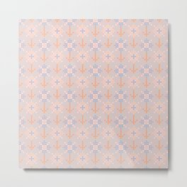 Pastel coral blue orange abstract cross stich pattern Metal Print