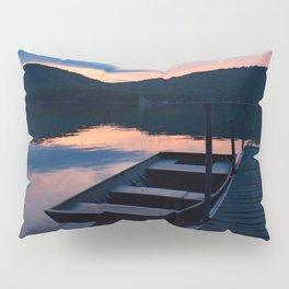 Pretty Adirondack Dawn: Jon Boat and Old Dock Pillow Sham