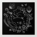 Sleeping Beauty magical black cat in flowers lineart Luna by miaubetty