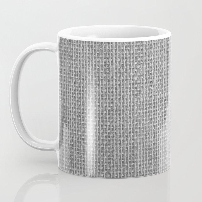 Natural Woven Silver Grey Burlap Sack Cloth Coffee Mug