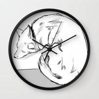 shiba Wall Clocks featuring Shiba Inu by Cassandra Jean