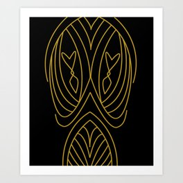Lines and curves gold Art Print