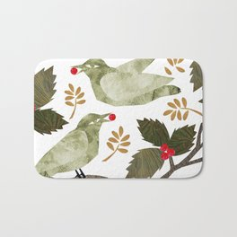 Birds and Holly in Greens, Golds and Red Bath Mat