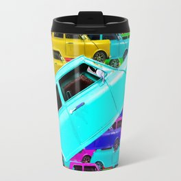 vintage classic car toy pattern background in yellow blue pink green orange Travel Mug