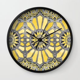 Sunny Yellow Radiant Watercolor Pattern Wall Clock