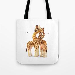 Cute giraffes loving family Tote Bag
