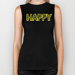 Happy Yellow Black Biker Tank