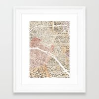 paris map Framed Art Prints featuring Paris map by Mapsland