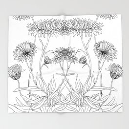Calendula Flowers Throw Blanket