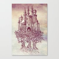 castle Canvas Prints featuring Castle in the Trees by Rachel Caldwell