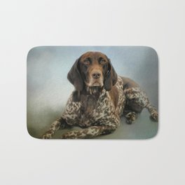Waiting For A Cue - German Shorthaired Pointer Bath Mat