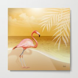 FLAMINGO BEACH | gold Metal Print