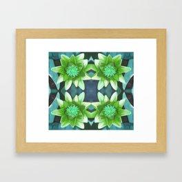 Teal Green Bromeliad Pattern Framed Art Print
